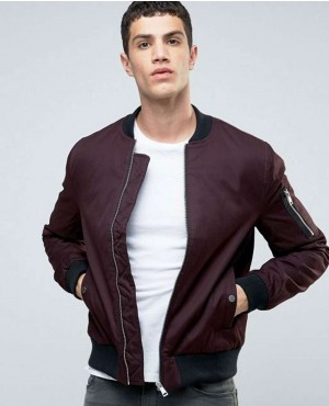 Men Bomber Jacket In Burgundy