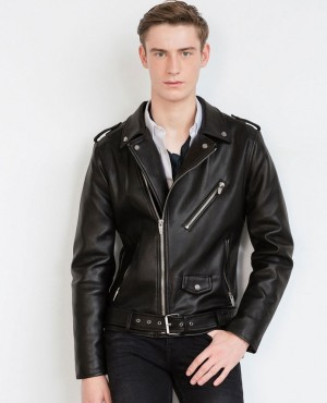 Men Bomber Leather Jacket