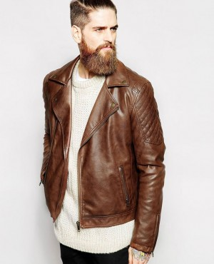 Men Bomber Leather Jacket with Shoulder Padding