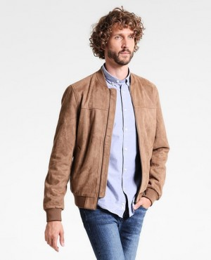Men Bomber Leather Jacket Camel