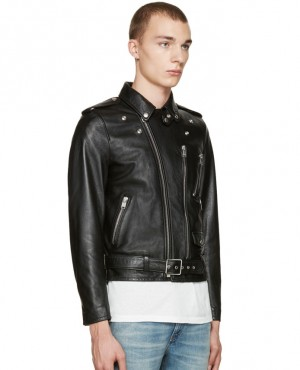 Men Classic Black Blood Luster Biker Jacket