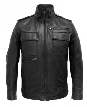 Men Coat Style Leather Jacket with Chest Box Pockets