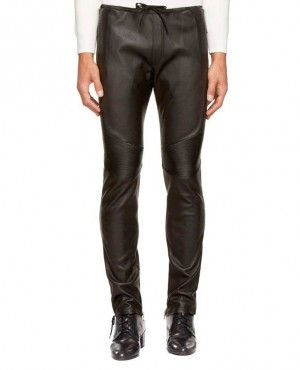 Men Custom Elegant Black Leather Biker Pants With Ribbed Paneling