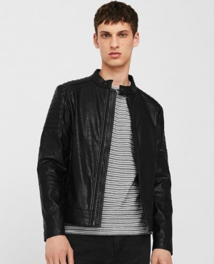 Men Custom Faux Leather Jacket Black