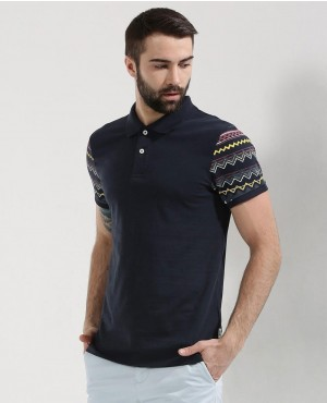 Men Custom Polo Shirt With Printed Sleeves