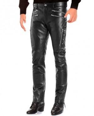 Men Custom Zippers Black Leather Pants With Studs