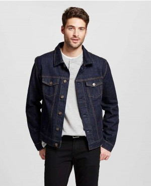 Men Denim Trucker Jacket Dark Wash