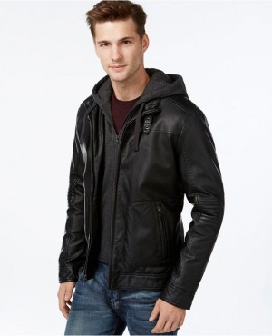 Men Fashion Design Slim Fit Hooded Leather Jacket