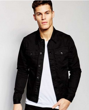 Men Fashion Look Cotton Denim Black Jacket