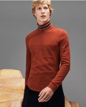 Men Fashion Show Zippered Stand Up Collar Polo Shirt