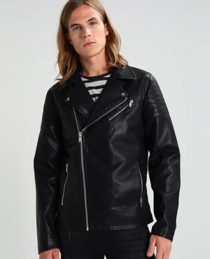 Men Faux leather Jacket Black
