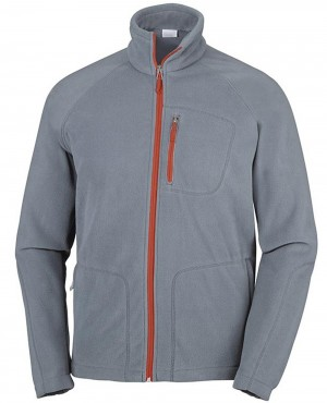 Men Full Zip Fleece Jacket Grey