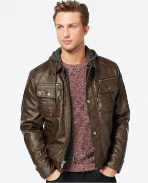 Men Genuine Leather Fashion Jacket With Hood