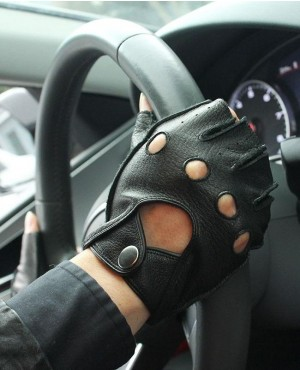 Men Genuine Leather Gloves Driving Unlined 100% Deerskin