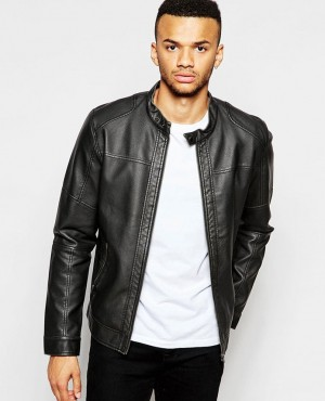 Men Grain Leather Jacket with Classical Look