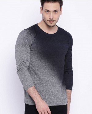 Men Grey Melange And Black Dyed Round Neck T Shirt