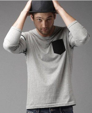 Men Grey Melange Solid T Shirt With Front Pocket And Sleeves Stripes