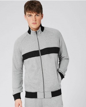 Men Grey Ribbed Mesh Track top Sweatshirt