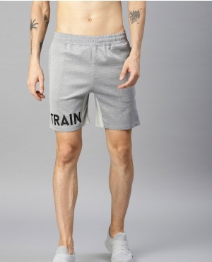 Men Grey Self Design Regular Fit Shorts
