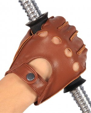 Men Half Finger Real Leather Gloves Driving Unlined Sheepskin