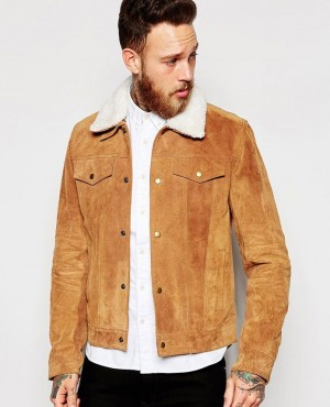 Men High Quality Suede Leather Jacket with Shearling Collar