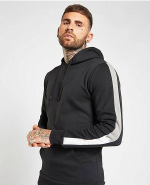 Men Hoodie Tracksuit Black With White Stripes