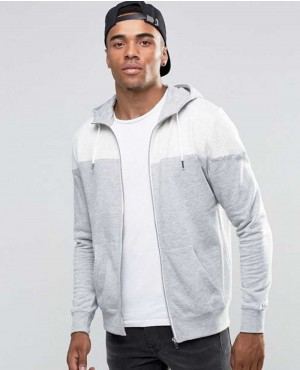 Men Hoodie With Blocked Detail In Grey