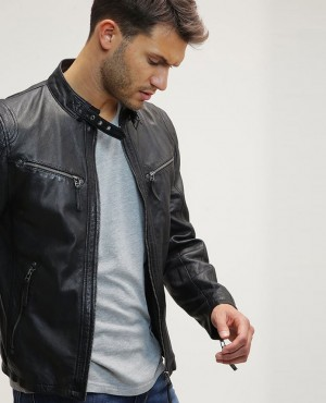 Men Hot Selling Leather Slim Fit Biker Motorcycle Jacket