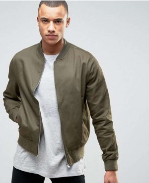 Men Jacket Cotton Bomber In Khaki
