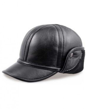 Men Leather Fleece Cap Winter Driving Flat Warm Ear Fur Lined Hat