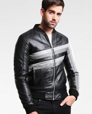Men Leather Jacket Black Grey