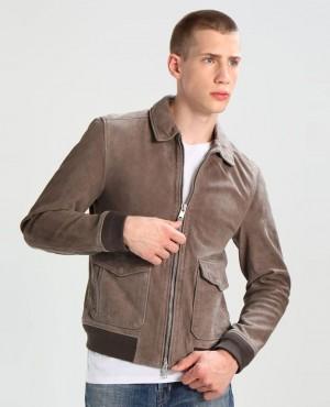Men Leather Jacket Chrome Grey