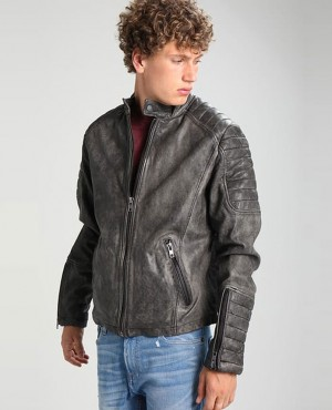 Men Leather Jacket Vintage Black