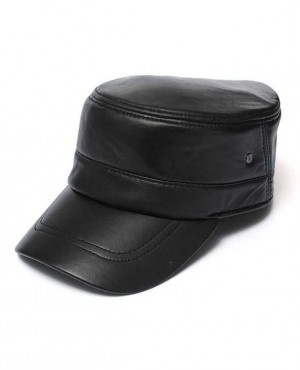 Men Leather Military Driving Sports Flat Cap