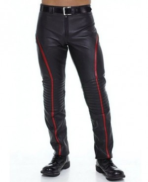 Men Leather Pant Cowhide Leather Motorcycle Black Pants For Men