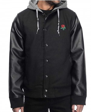 Men Lettermen Wool & Leather Black Varsity Jacket