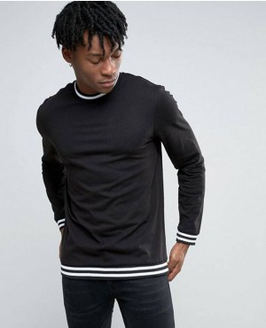 Men Long Sleeve Top In Black With Stripe Detail T Shirt