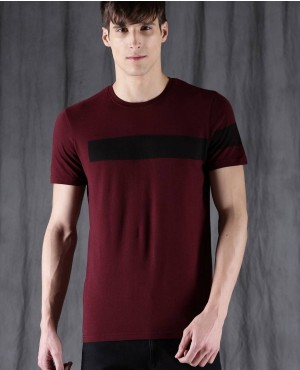 Men Maroon Custom Brands Round Neck T Shirt