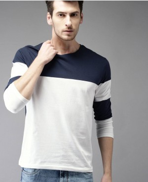 Men Navy Blue Colours blocked Round Neck T Shirt