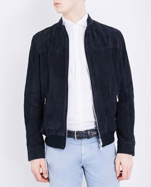 Men Navy Blue Suede Custom Jacket