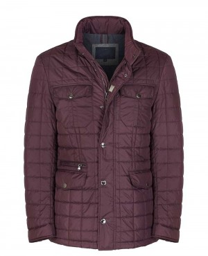 Men New Quilted Jacket Burgundy