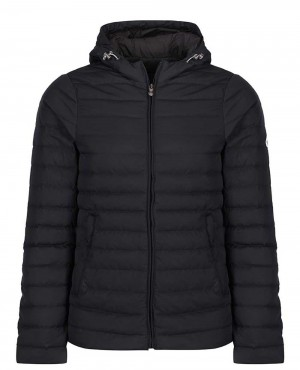 Men Padded Puffer Hooded Down Jacket Black
