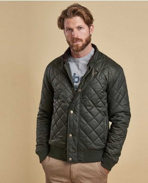 Men Padded Puffer Quilted Bomber Jacket