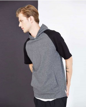Men Pullover Short Sleeves Side Zipper Hoodie