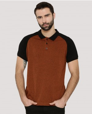 Men Raglan Printed Back Contrast Polo Shirt
