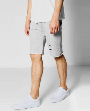 Men Raw Edge Distressed Jersey Short