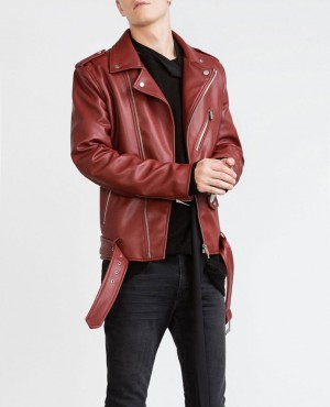 Men Red Hot Bomber Leather Jacket