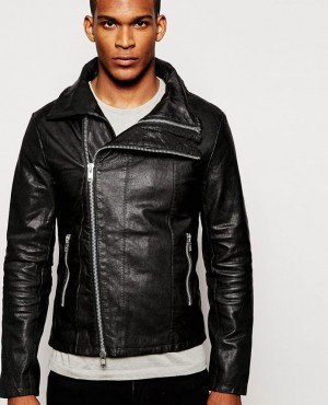 Men Sheep Leather Shiny Leather Jacket