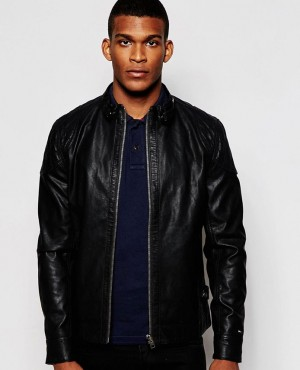 Men Simple Style Leather Jacket