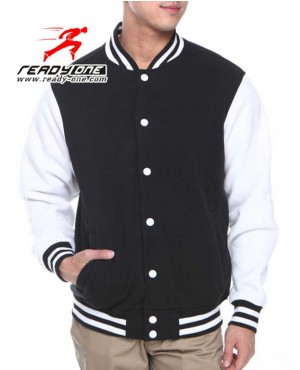 Men Soft Fleece Black and White Varsity Jacket